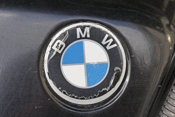 BMW logo on a friend's R-series motorcycle that is still providing excellent service after decades of use -- photo by Joe May