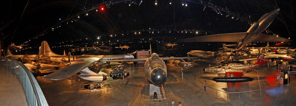 Panorama of one of the hangers of th eNational Museum of the USAF -- photo by Joe May
