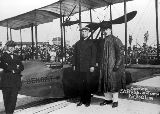 First regularly scheduled airline flight 1914 Percy E Fansler left Mayor Phiel and Tony Jannus — State Archives of Florida photo