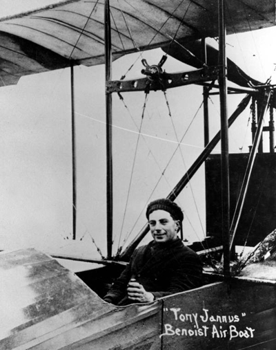 1014, pilot Tony Jannus in the cockpit of a Benoist XIV air boat (known today as a flying boat) — State Archives of Florida photo