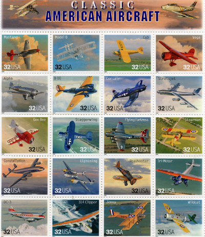 Classic American Aircraft 1996 stamp sheet by the USPS