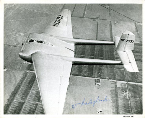 AC Bowl W 02 of W Hawley Bowlus in flight — photo from the San Diego Air and Space Museum archive