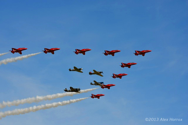 Alex Horrox photo of the Red Arrows fly past with xxx at the Duxford Spring Airshow 2013