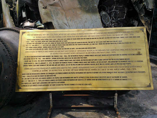 Sign at the Aircraft Wreckage Sculpture at the Vietnam Military History Museum — photo by Catherine Dowman ©2013