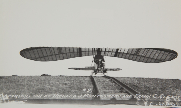 John J. Montgomery flying the Evergreeen Glider — photo from the San Diego Air & Space Museum archive