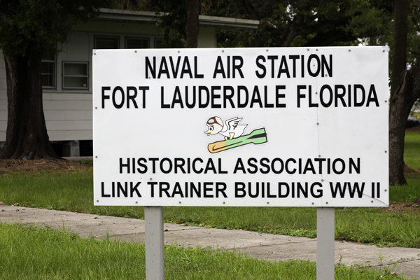 Sign denoting the historic Link training building, now the NAS Ft. Lauderdale Museum — photo by Joseph May
