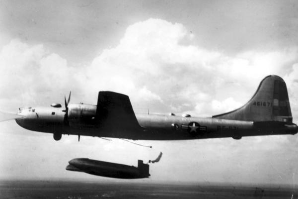 SB-29 air dropping an Edo A-3 lifeboat — USAF photo