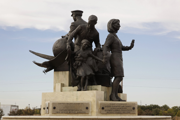"""9/11 Flight Crew Memorial statue entitle """"Valor Commitment Dedication"""" in Grapevine TX — photo by Joseph May"""