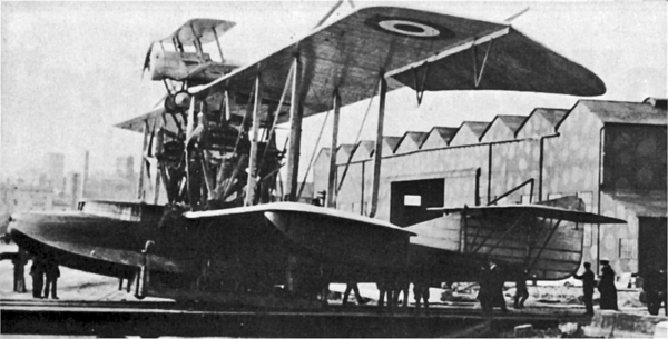 Bristol Scout on Felixstowe Porte Baby first composite aircraft 1916 — San Diego Air & Space Museum archive photo