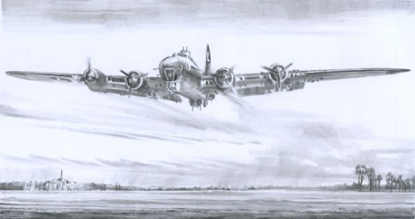 B17 Wheels Up Belly Down by Simon W. Atack