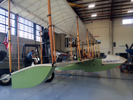 The flying replica of the Benoist XIV which Kermit Weeks will fly to re-enact the historic first airline flight on its 1ooth anniversary — photo provided by Will Michaels and the Florida Aviation Historical Society