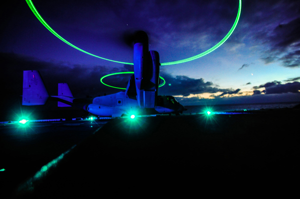 MV-22 Osprey aboard the USS Boxer off the coast of southern California — US Navy photo by Mass Comm Spec 3rd Class Brian Jeffries