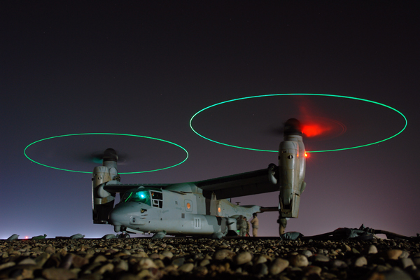 MV-22 Osprey during nocturnal refueling in central Iraq — US Navy photo by Chief Mass Comm Spec Joe Kane