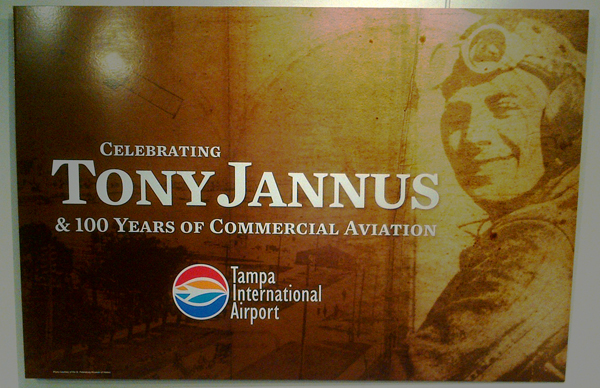 Centennial of Airline Aviation sign at TIA — photo by Joseph May