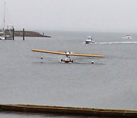 "Eddie Hoffman lands the ""Mullet Skiff"" in the Davis Island Seaplane Basin, the Tampa terminus for Tony Jannus 100 years ago that day — photo provided by Michael Williams and the Florida Aviation Historical Society"