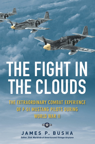 The Fight in the Clouds: the extraordinary combat experience of P-51 Mustang pilots during World War II by James P. Busha (cover design by Andrew Brozyna)