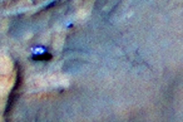 Tracks of Rover Curiosity on Mars April 2014 — NASA Mars Orbiter photo