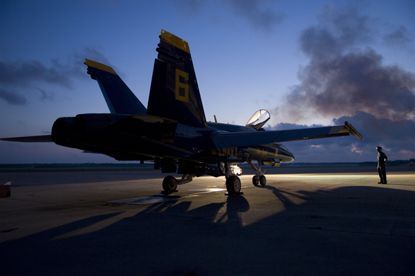 Av Tech 1st Class Ben Jones on duty as safety observer during the morning turn of a  Blue Angel F/A-18 Hornet — U.S. Navy photo by Mass Comm Spec. 3rd Class Andrew Johnson