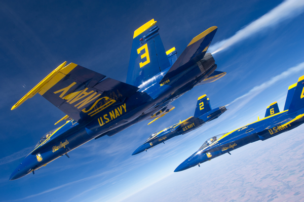 F/A-18 Hornet Blue Angles over Grand Junction CO — U.S. Navy photo by Mass Comm Spec 2nd Class Andrew Johnson