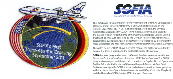 SOFIA's First Trans-Atlantic Crossing mission patch