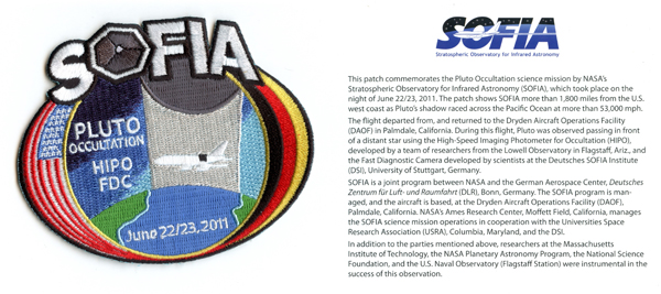 SOFIA's Pluto Occulation mission patch