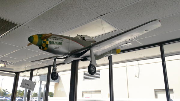 P-51D model by Jim Deutsch in the SkyView Cafe — photo by Joseph May