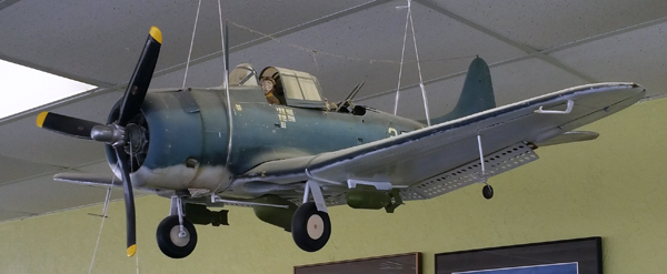 SBD-5 Dauntless model by Jim Deutsch in the SkyView Cafe — photo by Joseph May