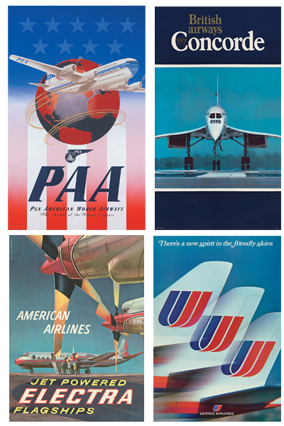 A sample showing the variety of posters in Airline Visual Identity