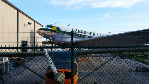 The Ozark Airlines airliner at the EAA Chapter 1241 Air Museum front — photo by Joseph May