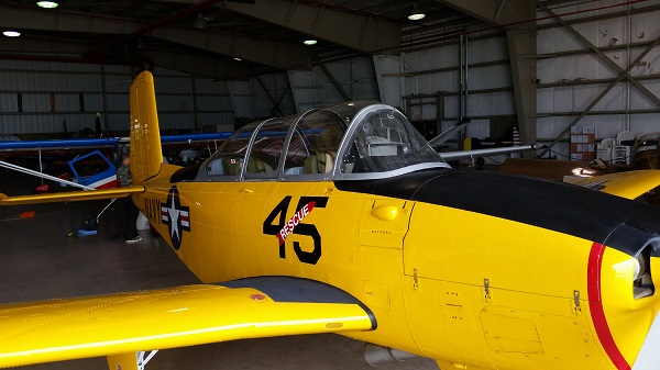 Beechcraft T-34 Mentor front quarter view — photo by Joseph May