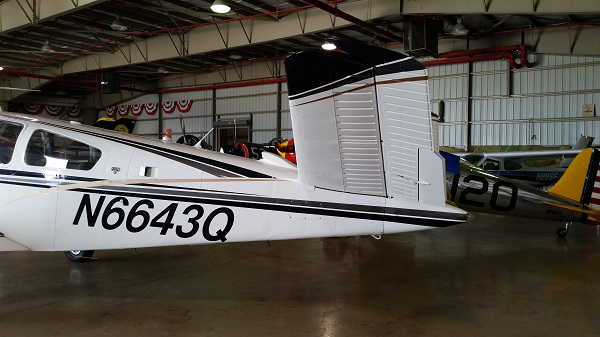 The Beechcraft V35B Bonanza's emennage — photo by Joseph May