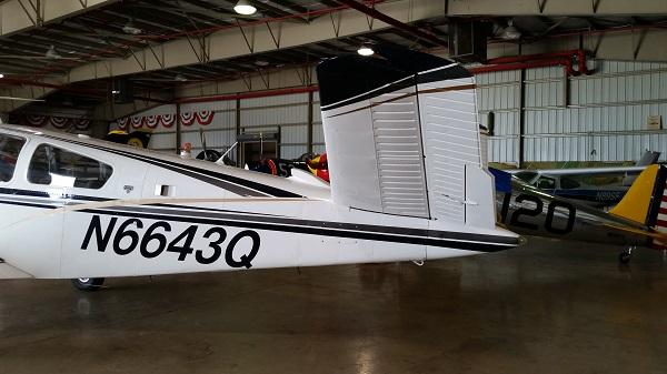 The Beechcraft V35B Bonanza's emennage — photo by Joseph May