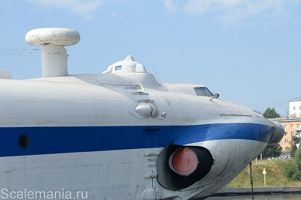 Central Hydrofoil Design Bureau A-90 Orlyonok (Eaglet) forward fuselage showing radar dome, cupola (originally a dorsal gun turret) and exhaust from the starboard Kuznetsov turbofan — copyright and photo by Макс Климов (Max Klimov)
