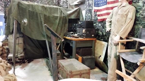 WW II South Pacific radio shack diorama at WOMAM — photo by Joseph May