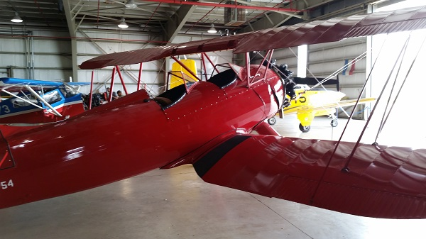 Rear quarter view of this Waco biplane — photo by Joseph May