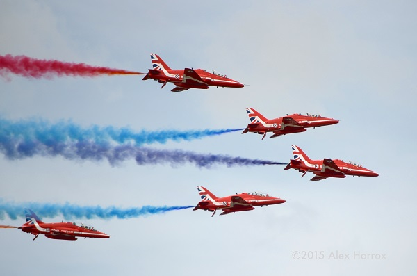 "Red Arrows ""smoke on"" at RIAT 2015 (note air brakes deployed) — copyright Alex Horrox 2015"