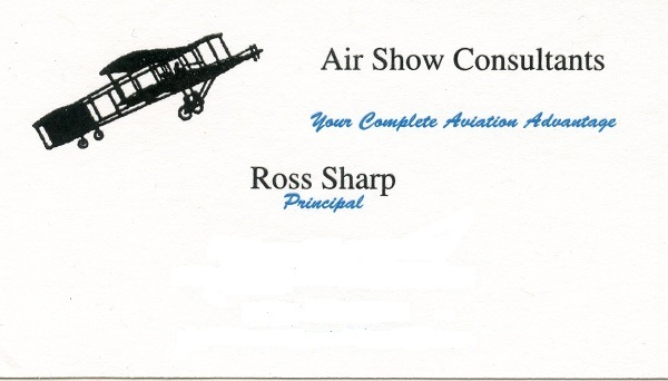 Ross Sharp/Principal, Air Show Consultants (and excellent photography as well) — formal contact information omitted but email and Twitter handles are given below