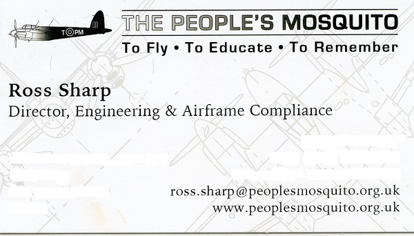 Ross Sharp, The People's Mosquito/Director Engineering & Airframe Compliance