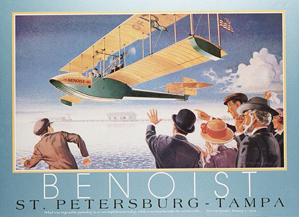 Poster for the precedent setting St. Petersburg–Tampa Airboat Line—San Diego Air and Space Museum image