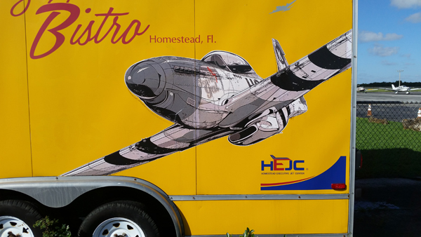 """Art work of the """"Flying Bistro"""" at the Homestead General Aviation Airport—Joseph May/Travel for Aircraft"""