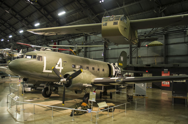 C-47 and Waco CG-4 assault glider at the National Museum of the U.S. Air Force—Ken LaRock photo/NMUSAF image archive