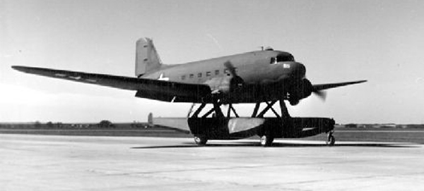 Douglas XC-47C with Edo Model 78 amphibious floats—San Diego Air and Space Museum image archive