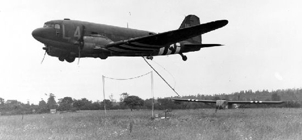 C-47 retrieving/extracting a Waco CG-4 retrieval—San Diego Air and Space Museum image archive