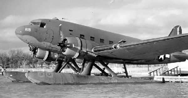 Douglas XC-47C with Edo Model 78 amphibious floats on the water—San Diego Air and Space Museum image archive