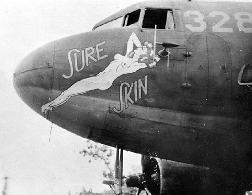 "C-47 Skytrain nose art ""Sure Skin""—San Diego Air and Space Museum image archive"