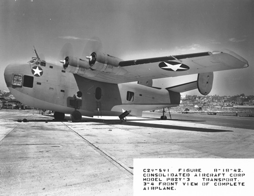 Hatches open for air flow with a fire bottle at the ready, a typical Consolidated PB2Y Coronado scene of the day—San Diego Air and Space Museum image archive