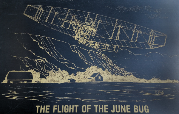 Detail of Bruce Brady's art work of the June Bug flight—Joseph May/Travel for Aircraft