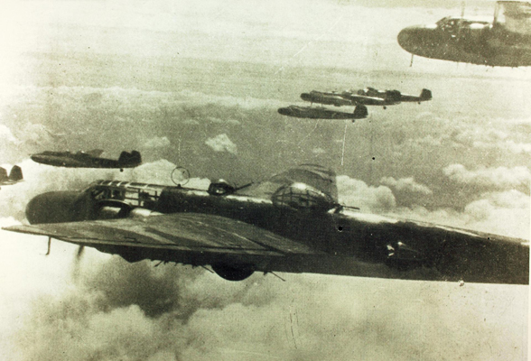 Mitsubishi G3M Type 96 Rikko (Allied reporting name, Nell) bomber formation—San Diego Air and Space Museum image archive