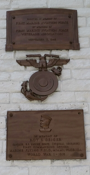 Detail of the plaques honoring then Capt. Roy Geiger, USMC, on being the first commander of the Marine's first aviation unit—Joseph May/Travel for Aircraft