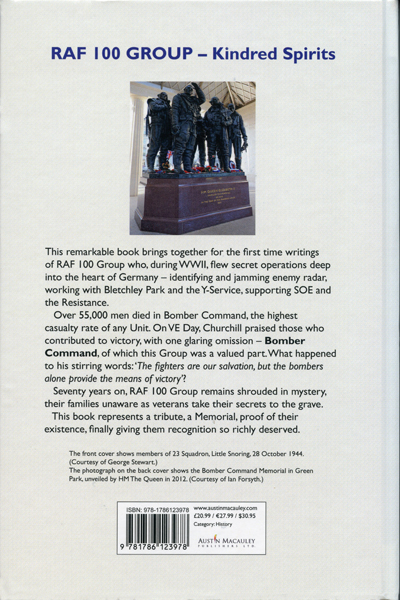 RAF 100 Group Kindred Spirits: Voices of RAF & USAAF on secret Norfolk airfields during World War Two (back cover) by Janine Harrington—Austin-Macauley Publishers